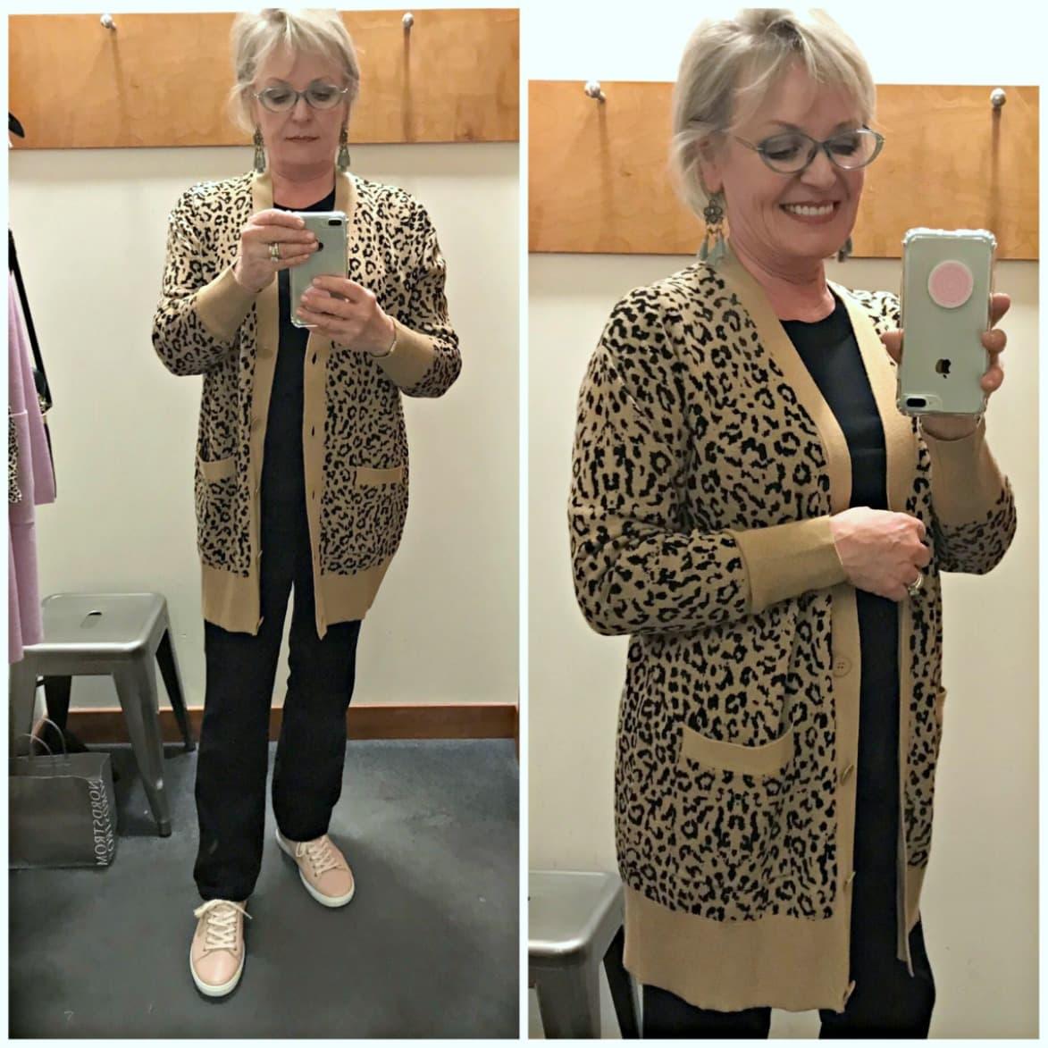 Jennifer of A Well Styled Life wearing J Crew leopard cardigan over NYDJ black jeans