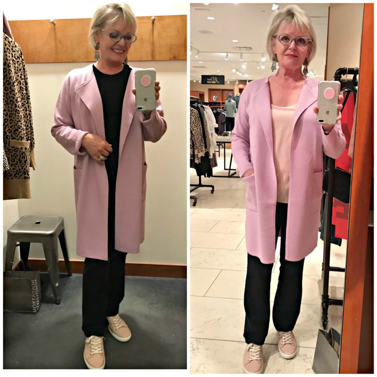 Jennifer from A Well Styled Life wearing Juliette collarless sweater coat in wysteria