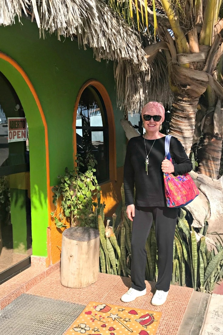 Jennifer of A Well Styled Life outside a lobster restaurant in Adolfo Lopez Mateos