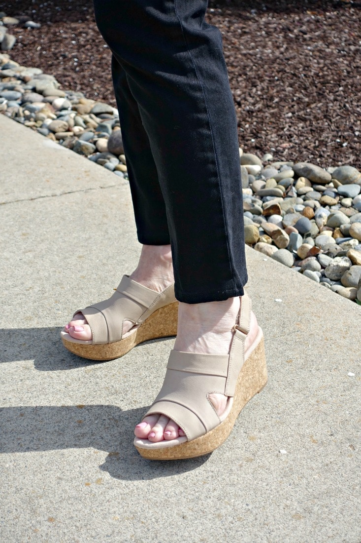 Clarks wedge sandal in sand color