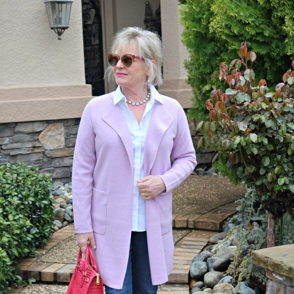 casual outfit with sweater blazer from J.Crew and blue jeans
