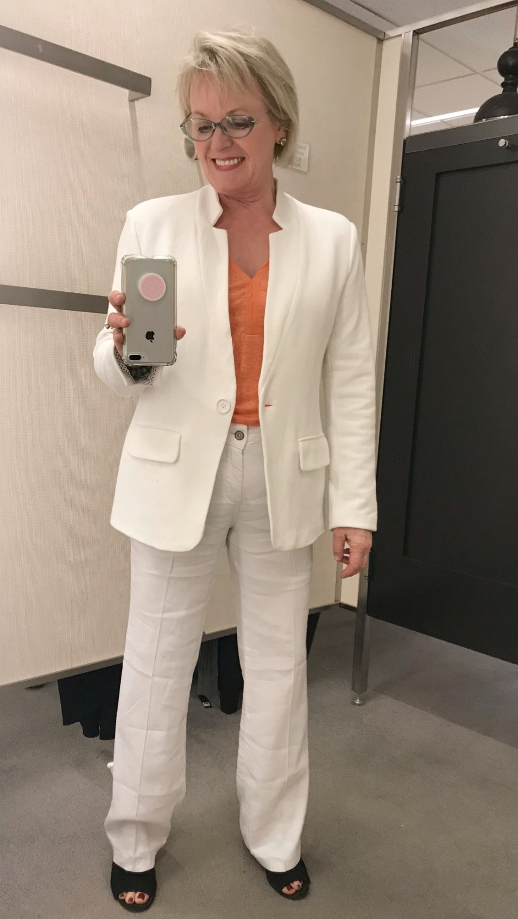NYDJ linen pants and Gibsons white jacket from Nordstrom on A Well Styled Life