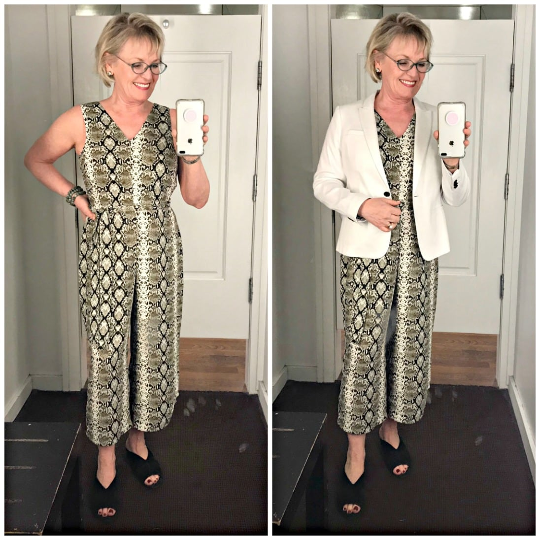 snakeskin jumpsuit and white linen jacket on Jennifer Connolly of A Well Styled Life