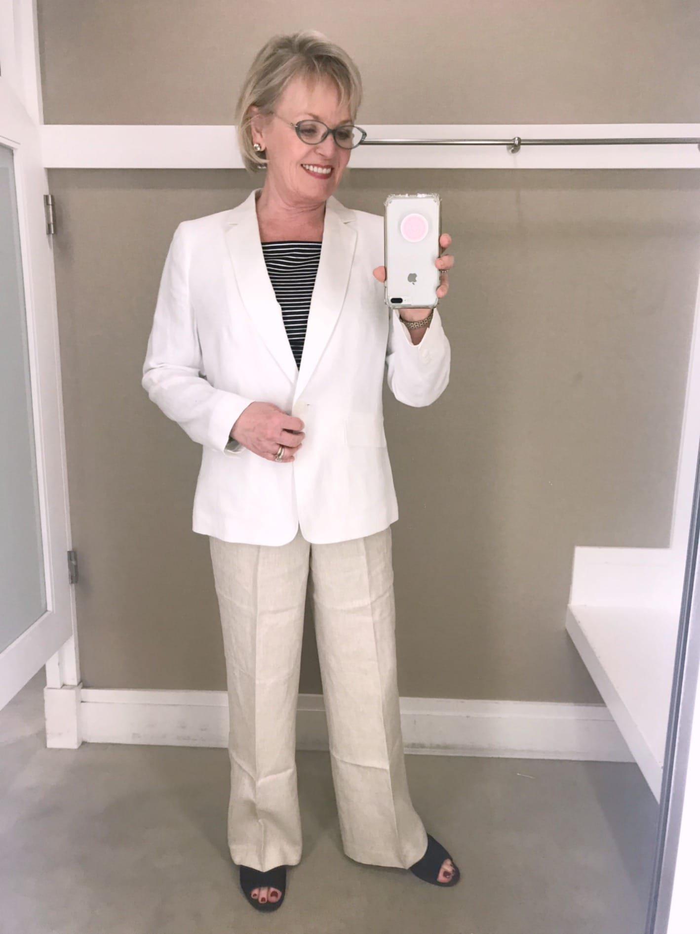 linen suiting from Talbots worn by Jennifer Connolly of A Well Styled Life