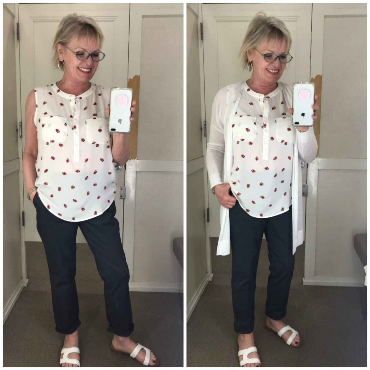 Jennifer Connolly of A Well Styled Life wearing floral top, gray chino's and white sweater from Loft