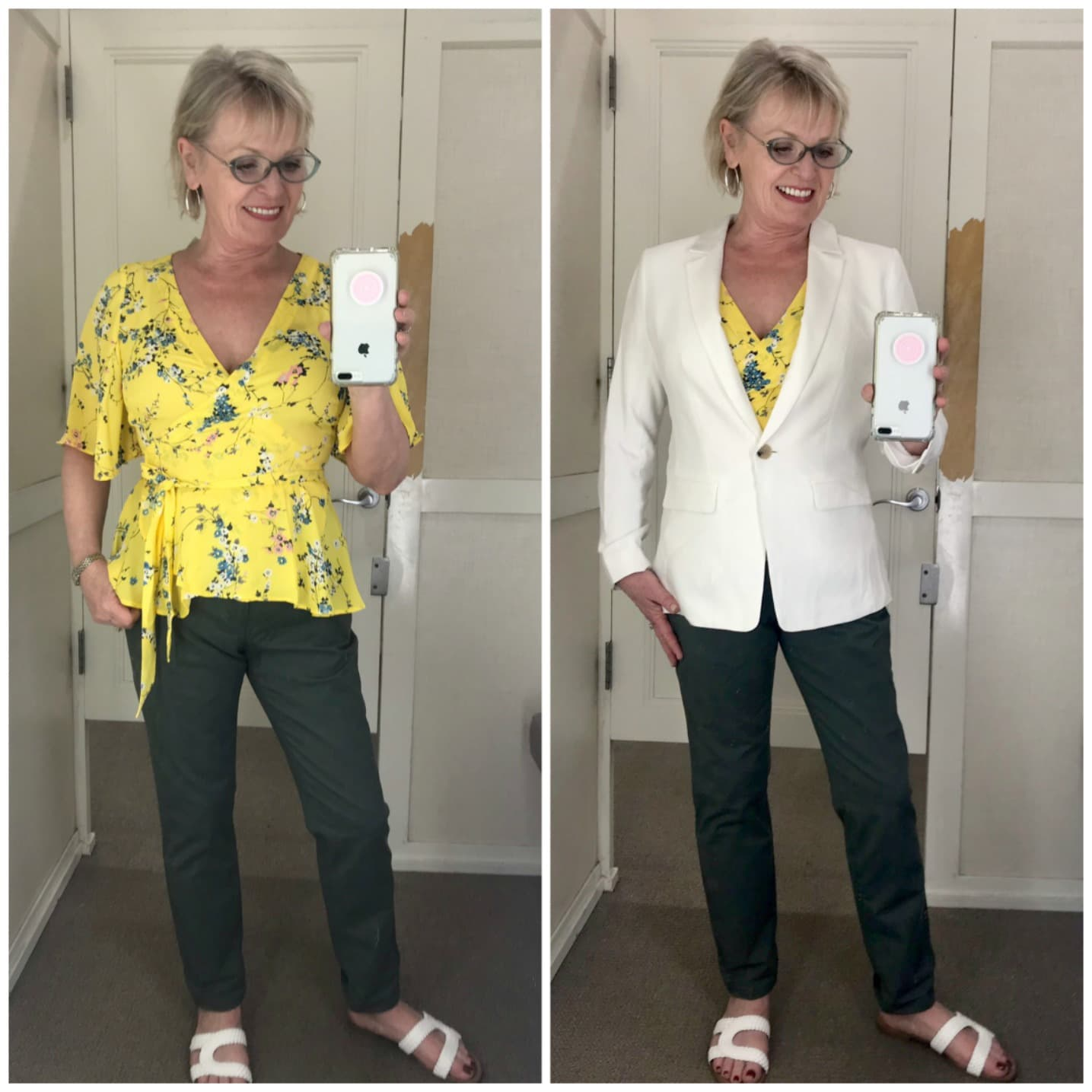 Yellow floral top, gray chinos and white jacket from Loft worn by Jennifer of A Well Styled Life