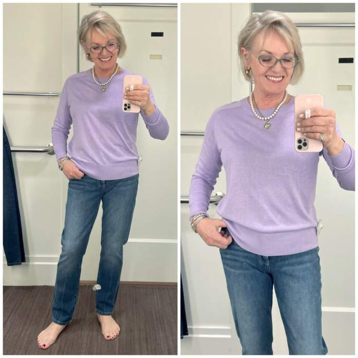 BLONDE WOMAN WEARING LILAC SWEATER AND JEANS IN BANANA REPUBLIC DRESSING ROOM