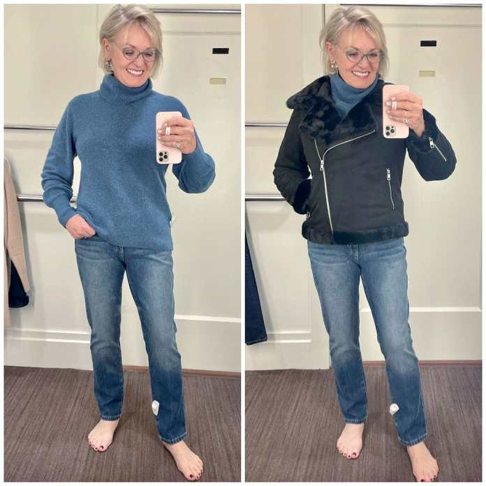 woman wearing blue aire wool sweater and jeans from banana republic