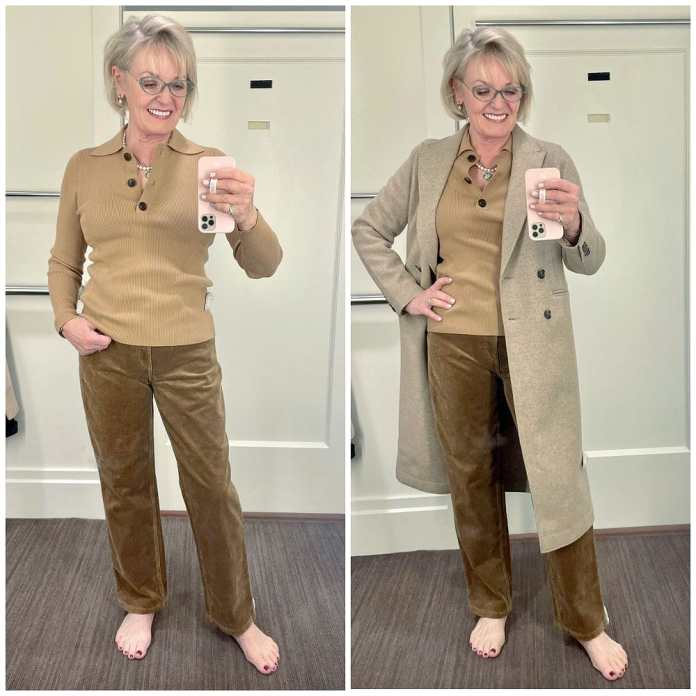 womann wearing brown cords and coat in banana republic changing room