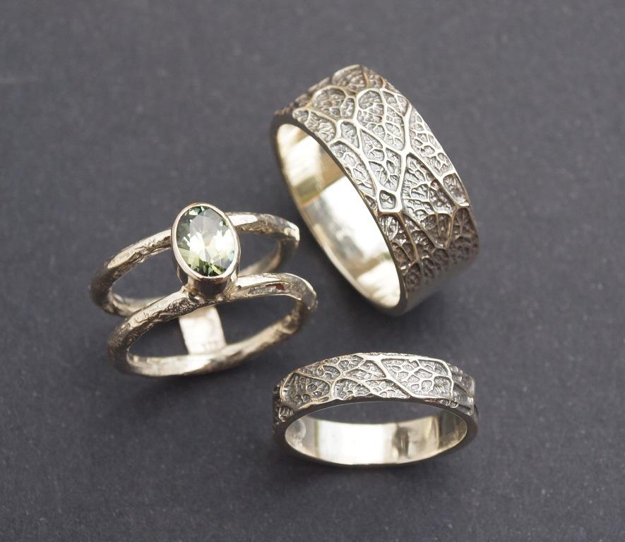 Angel Tree Seedpod Textured Wedding Ring Sets By Helen