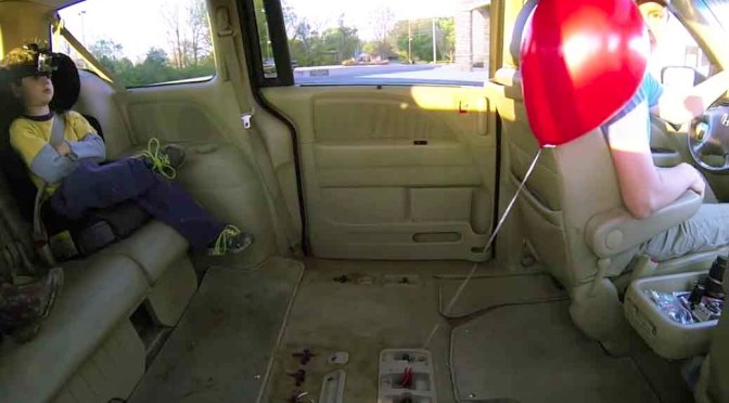 helium balloon in a car