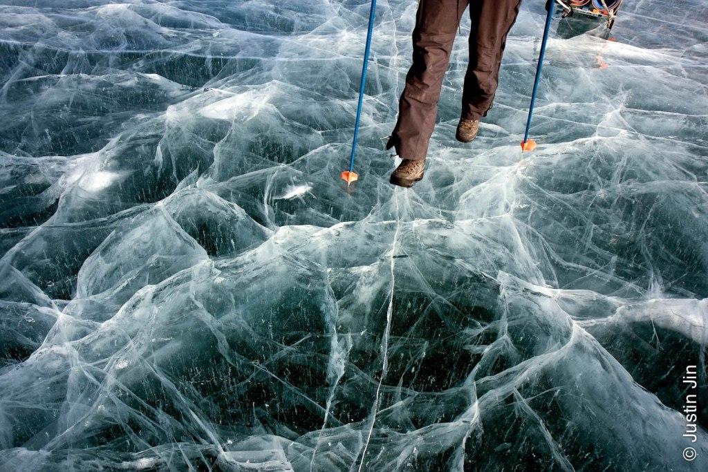 Trekking across frozen Lake Baikal