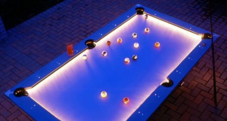 Awesome Outdoor Pool Table With Built In LED Lights