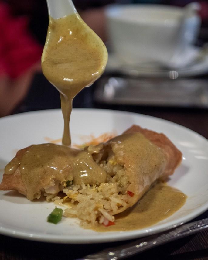 Crispy seafood, fried rice, curry sauce