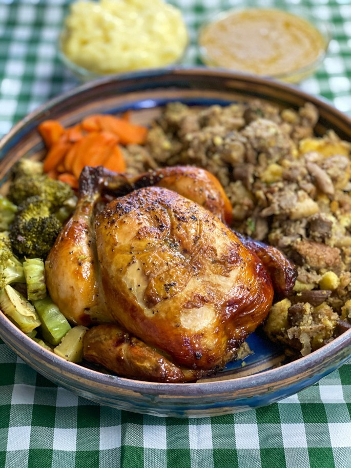 Thanksgiving Chicken (₱2,200). Free Range Roast Chicken with all the accoutrements, corn bread mushroom and sausage stuffing, glazed carrots, broccoli, mashed potato gravy and cranberry sauce. Perfect for Father's Day serves 4-persons.