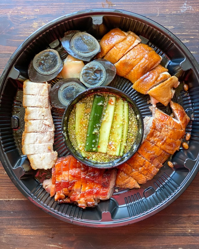 Roast Duck Combination Platters (Small good for 3-4 ₱980). Roast Duck, Crispy Roast Pork, BBQ Pork, Soya Chicken, Marinated Cucumber with Vinegar & Garlic, Century Egg