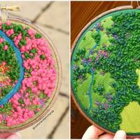 British Artist Creates Beautiful Embroidered Pieces of Aerial Views of the Countryside