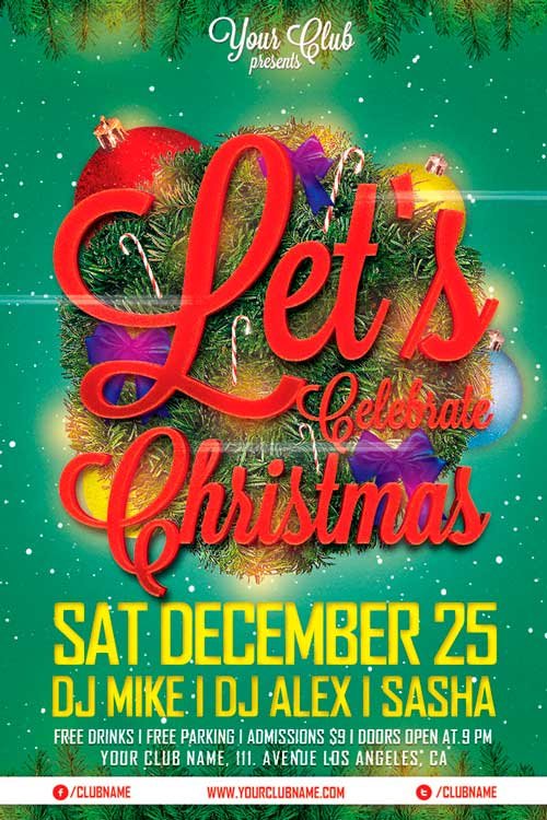 Lets Celebrate Christmas Flyer Template