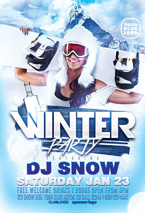 Winter Party Flyer Template Vol. 2