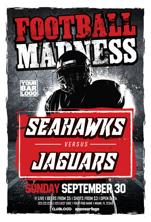 Football Madness Sports Flyer Template - Flyer for Sport Events