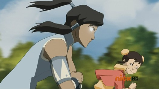 Korra abuses the Avatar State to win an airbending race.