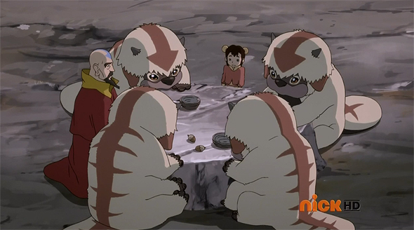 ikki and tenzin with sky bison