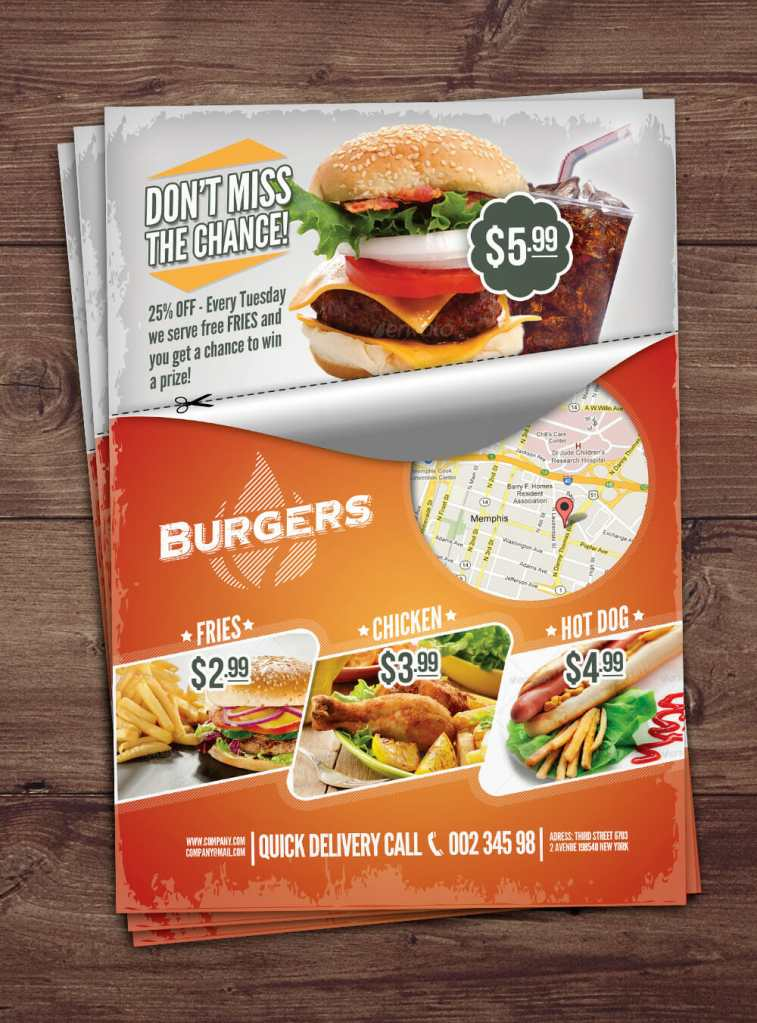 Fast food template mockup awesome mockups for Free food brochure templates