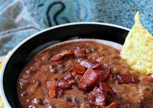 Cheesy Black Bean Bacon Dip | How to be Awesome on $20 a Day