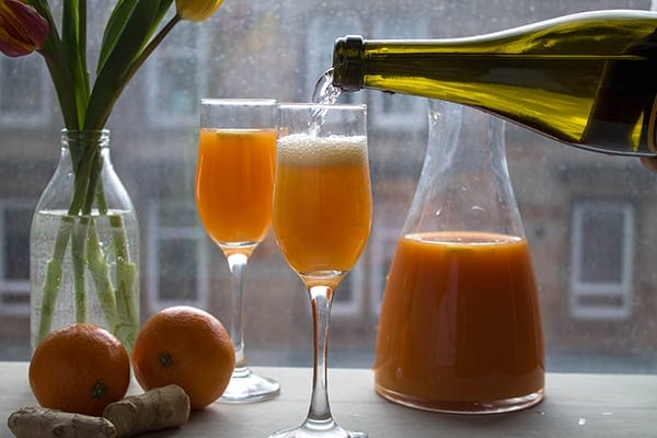 Carrot Ginger Orange Mimosas | How to Be Awesome on $20 a Day