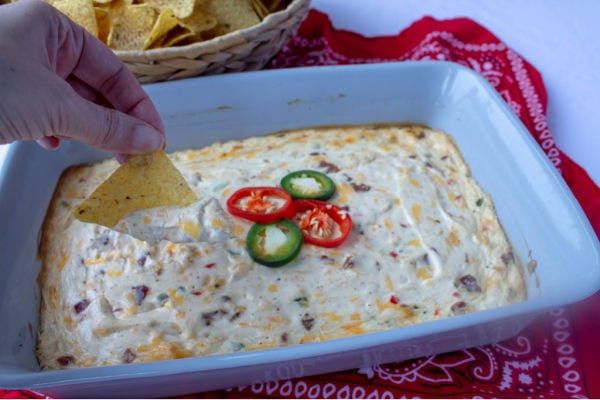 Jalapeno Popper Dip with tortilla chips