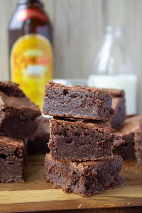 A close up stack of three Kahlua Brownies