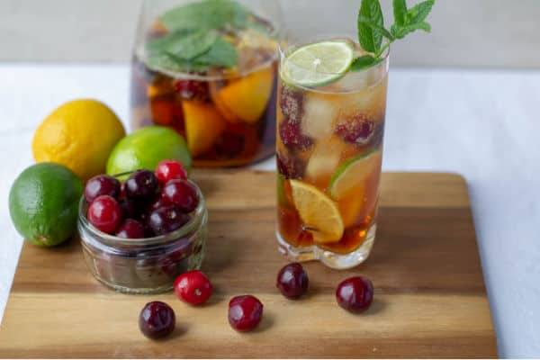 Pimm's & Cherry Lemonade with cherries