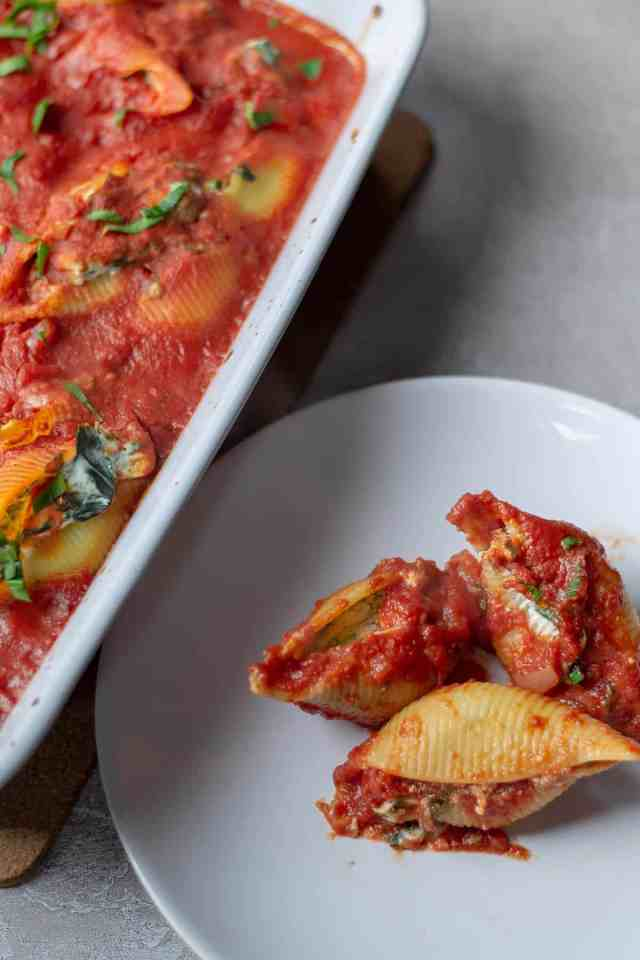 Spinach & Ricotta Stuffed Shells on a plate