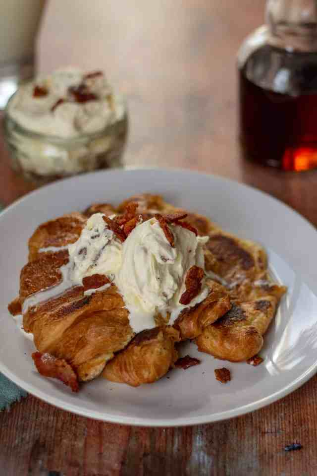 Croissant French Toast with Maple Bacon Whipped Cream