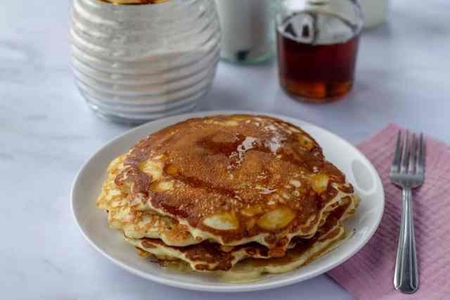 Homemade Vanilla Pancake Mix and pancakes with syrup