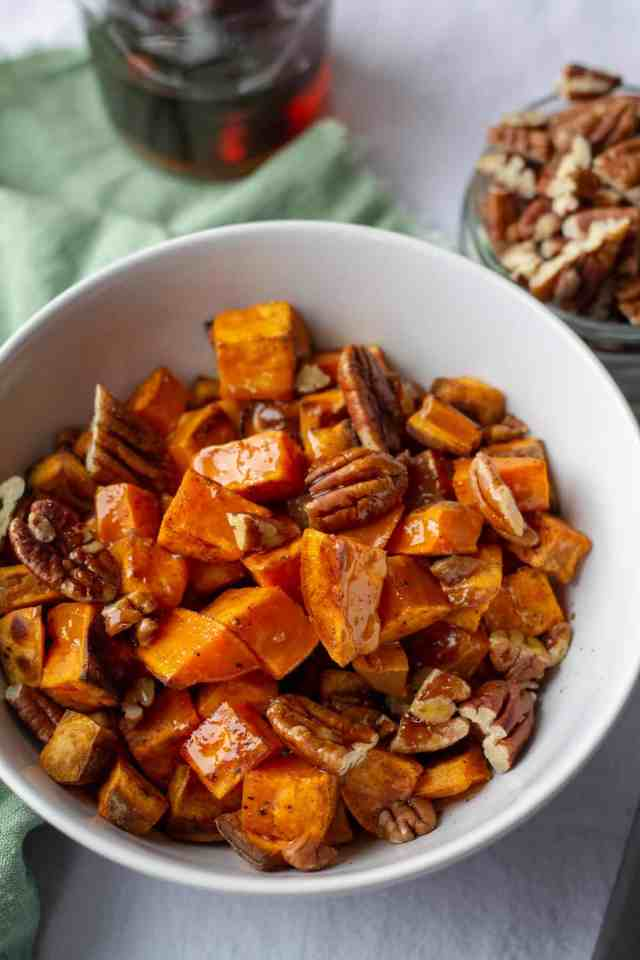 Roasted Sweet Potatoes with Spiced Maple Butter and pecans