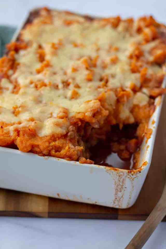 Vegetarian Sweet Potato Shepherd's Pie in a white casserole dish