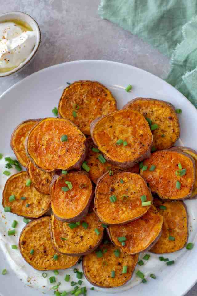 Cajun Sweet Potatoes on a white plate