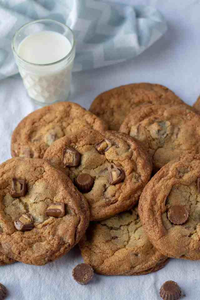 Peanut Butter Cup Cookies with milk