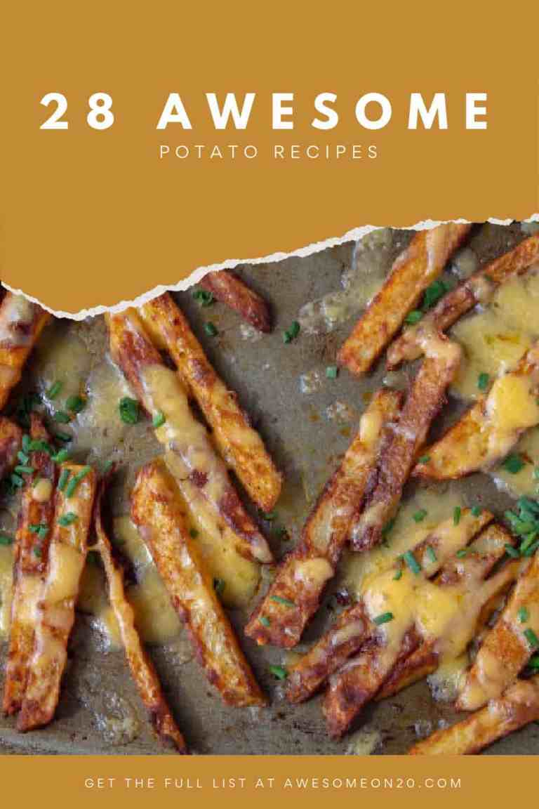 28 Awesome Potato Recipes with a tray of spicy cheese fries