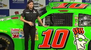 Danica Patrick picture in front of her 2012 Godaddy car