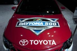 hood of the Daytona 500 pace car at the NY auto show.