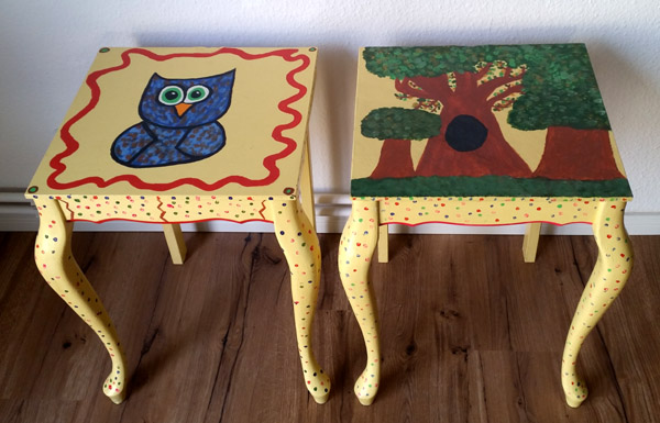 Table for two – quirky upcycled DIY end tables
