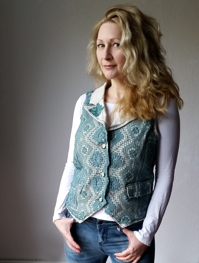 diy upcycled fask crocheted vest refashion tutorial