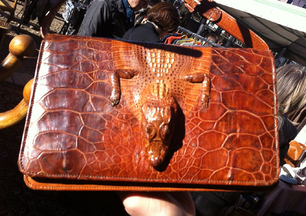 A vintage bag made from a crocodile (photo courtesy of Lunatic Needle)