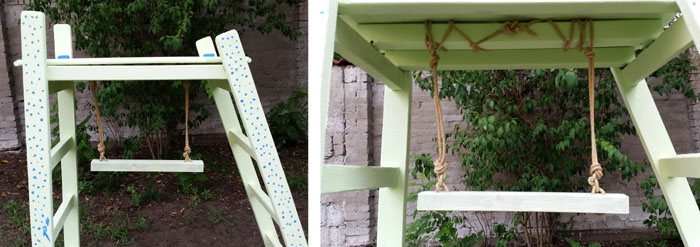 DIY scrap wood climbing frame +  trapeze