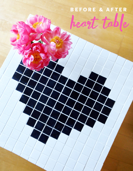DIY TILED HEART TABLE