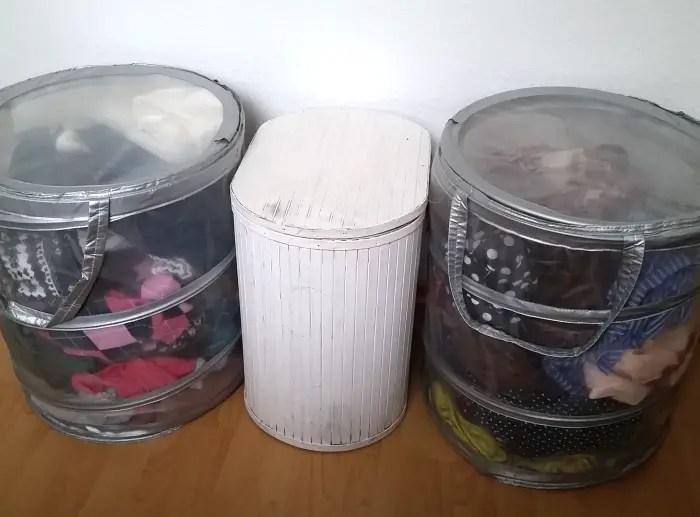 Laundry hamper fabric stash storage
