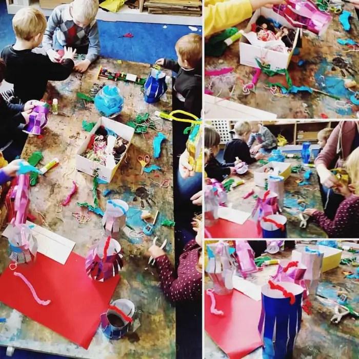 Preschool upcycled DIY paper lantern crafting