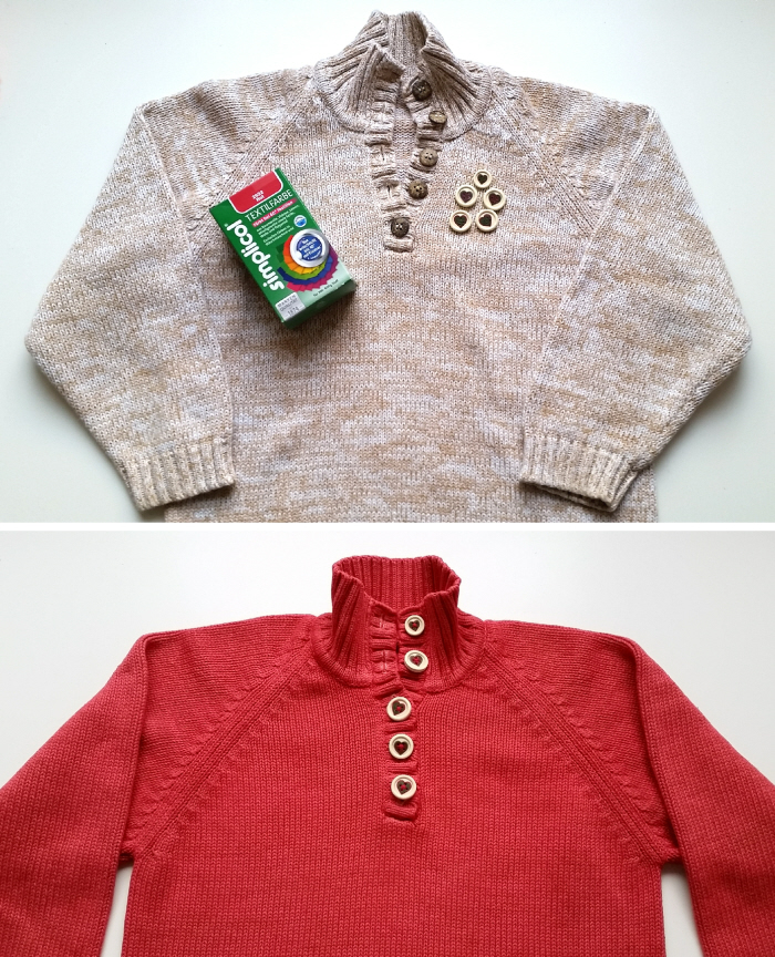 Dyed refashioned sweater